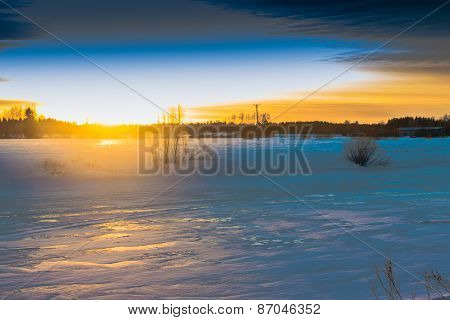 Spring Sunset On The River