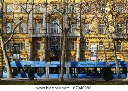 Zagreb Tram In Front Of The Archeology Museum