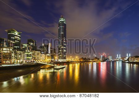 St George Wharf In London At Night