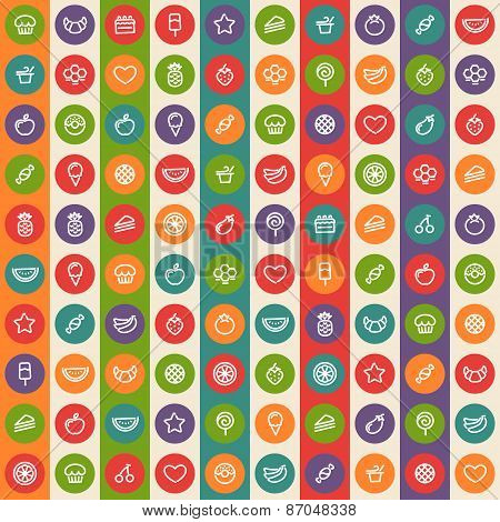 Color Striped Seamless Pattern with Dessert and Fruits Icons