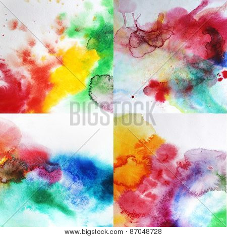 Watercolor splashes background