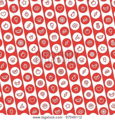 Red Striped Seamless Pattern with Dessert and Fruits Icons
