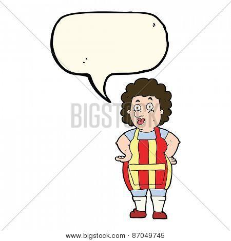 cartoon woman wearing apron