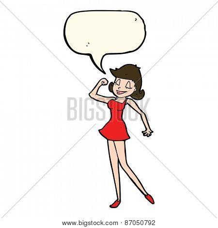 cartoon woman with can do attitude with speech bubble