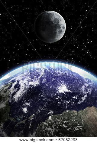 Earth and moon in space. Elements of this image furnished by NASA