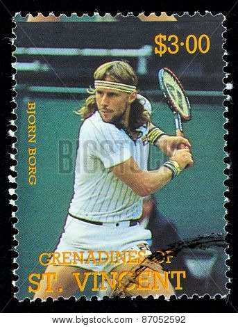 BEQUIA - CIRCA 1988: A stamp printed in Grenadines of St. Vincent shows Tennis Players Bjorn Borg, circa 1988