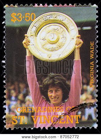 BEQUIA - CIRCA 1988: A stamp printed in Grenadines of St. Vincent shows Tennis Players Virginia Wade, circa 1988