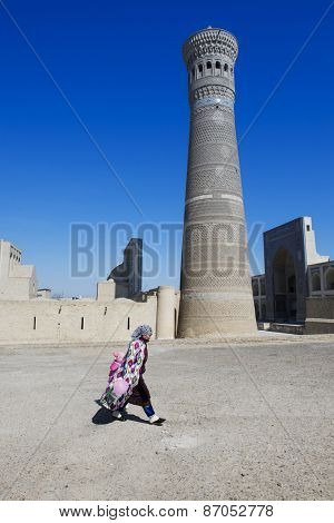 BUKHARA, UZBEKISTAN - MARCH 16, 2015: Mosque Kalon, Historic center of Bukhara, Uzbekistan (UNESCO World Heritage)