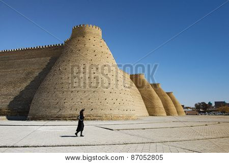 BUKHARA, UZBEKISTAN - MARCH 16, 2015:  Wall of the Bukhara Fortress, Uzbekistan