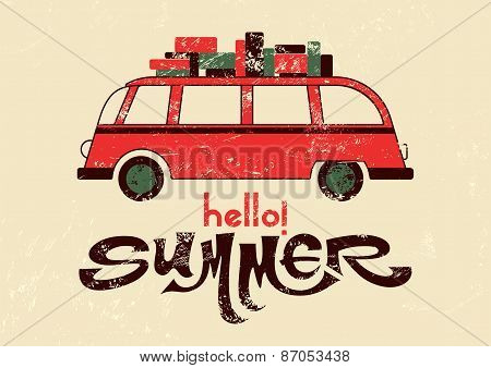 Hello summer! Typographic retro grunge poster with travel bus. Vector illustration.