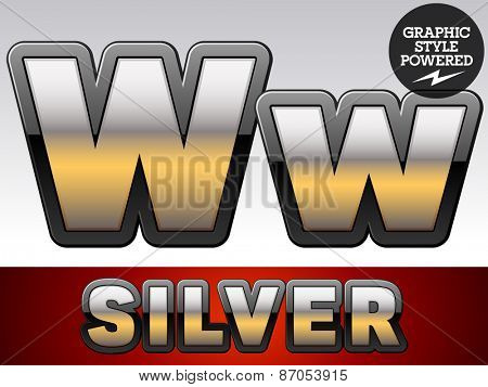 Vector set of gradient silver font with black border. Letter W