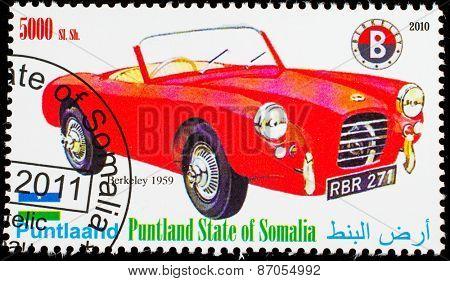 SOMALIA - CIRCA 2010: Postage stamp printed in Somali republic shows retro car,  Berkley 1959,circa 2010.