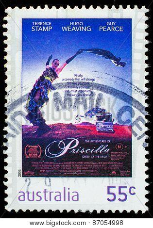 AUSTRALIA - CIRCA 2008: A stamp printed in Australia shows image of the movie Priscilla, Queen of the Desert, circa 2008