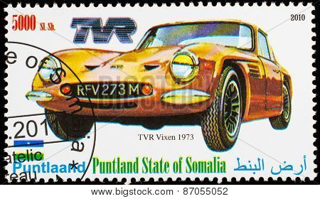 SOMALIA - CIRCA 2010: Postage stamp printed in Somali republic shows retro car,  TVR Vixen 1973,circa 2010.