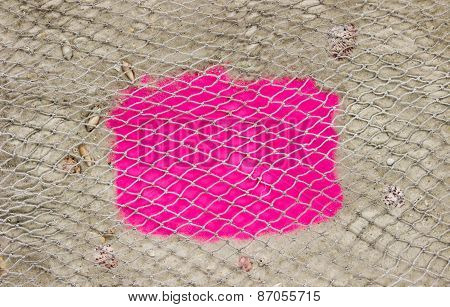 Blank pink sign on beach with sand and shells border