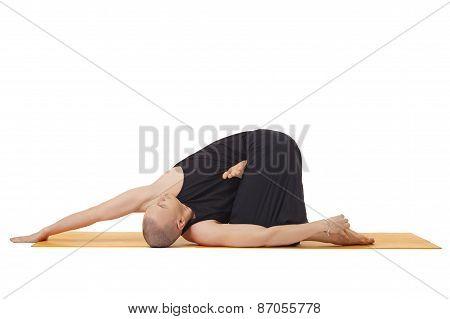 Man doing yoga, isolated on white background