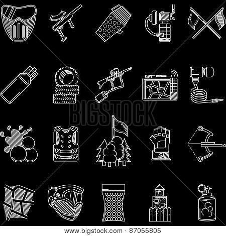 Paintball white line icons vector collection