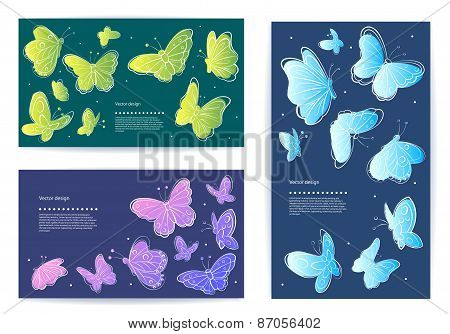 Set of vector butterfly business cards, banners.