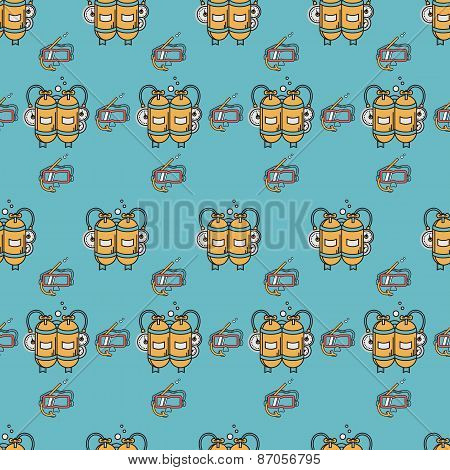 Diving equipment flat color vector background
