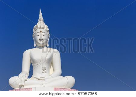 Big White Buddha Statue And Blue Sky In Thailand