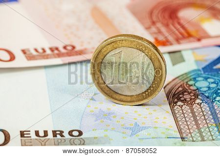Money euro coin and banknotes