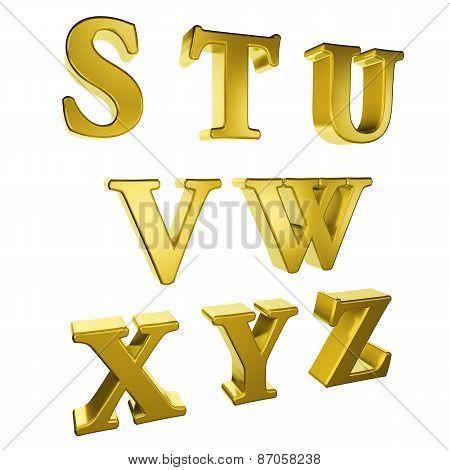 Gold Alphabet S To Z