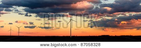 Eco Power, Wind Turbines In Sunset Panorama
