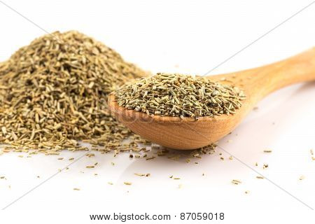 Dried Rosemary Leaves In Wooden Spoon