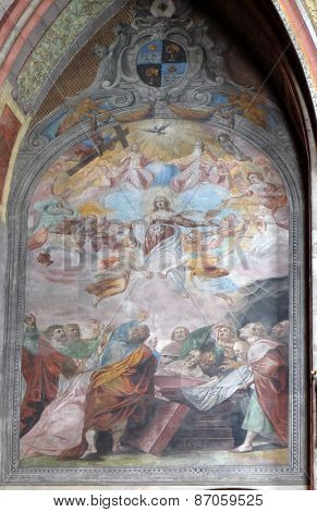 ST. WOLFGANG, AUSTRIA - DECEMBER 14: Assumption of the Virgin Mary fresco in Parish church in St. Wolfgang on Wolfgangsee in Austria on December 14, 2014.