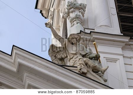 GRAZ, AUSTRIA - JANUARY 10, 2015: Angel on the portal of Mariahilf church in Graz, Styria, Austria on January 10, 2015.