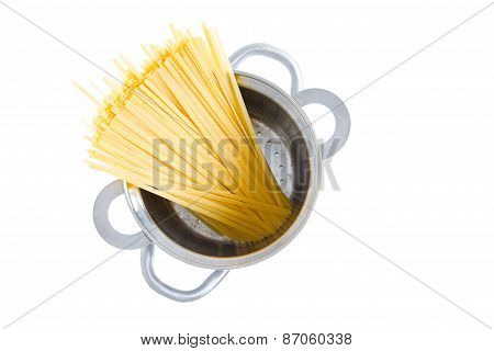 Bundle Of Dried Fettuccine Pasta In A Pot
