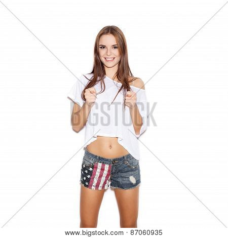 Young Woman Showing Rude Gesture With Both Hands