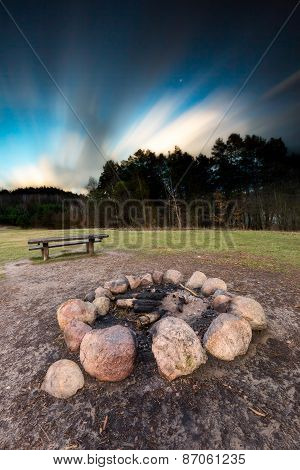 Landscape With Outdoor Fireplace. Long Exposure Photo