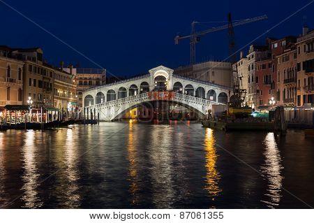 Rialto Bridge In Venice At Night