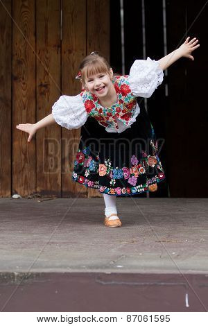 Dancing Little Girl Acting On The Stage