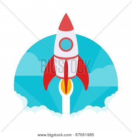 Startup illustration. The rocket takes off against the blue sky and clouds of white smoke