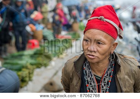 Red Dao woman in Sapa, Vietnam