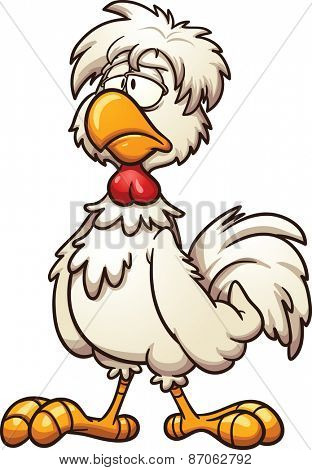 Groggy cartoon chicken. Vector clip art illustration with simple gradients. All in a single layer