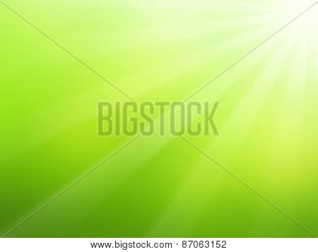 Green Spring Background With Sunrays