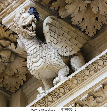 Dragon Statue At The Santa Croce Baroque Church In Lecce