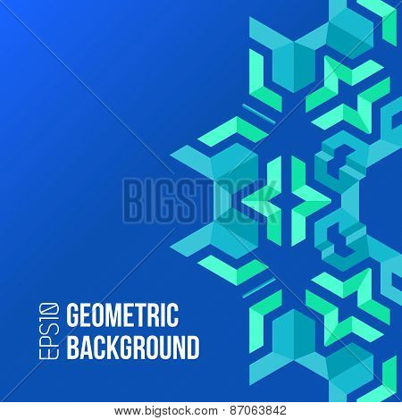 Blue Green Asymmetric Abstract Geometric Background.