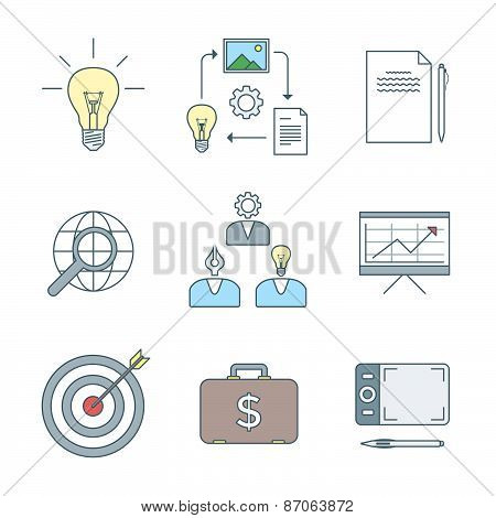 Colored Outline Creative Business Process Icons Set.