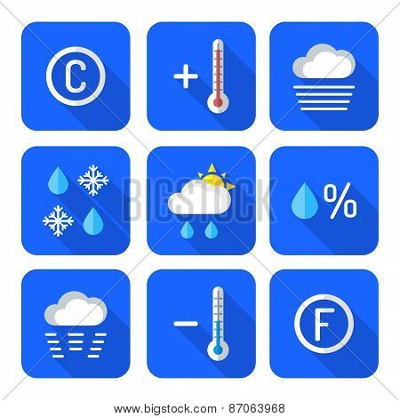Colored Flat Style Weather Forecast Icons Set.