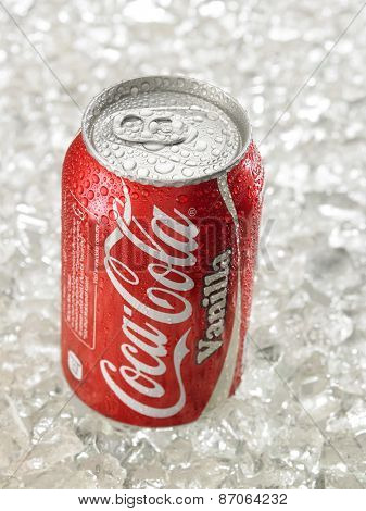 KUALA LUMPUR, MALAYSIA - April 2nd 2015.Photo of a can of Coca-Cola Vanilla . The brand is one of the most popular soda products in the world and it is sold almost everywhere