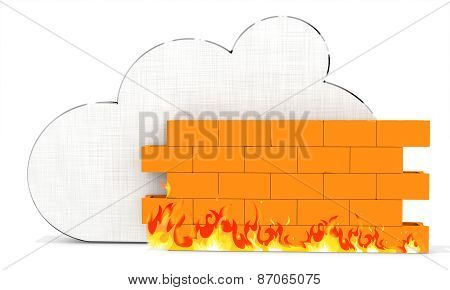 3D Metallic Cloud With Firewall