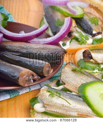 Sandwich With Sprats And Green Cucumber