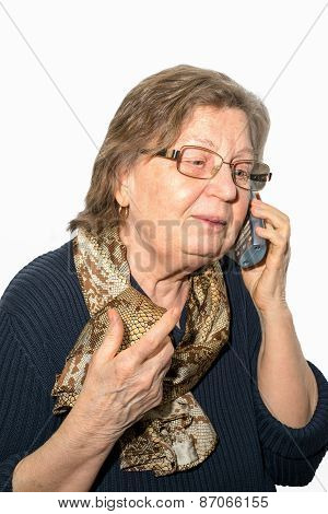 Pensioner Woman With Glasses Calling Phone On White Background. Retirement And Call Your Parents Con