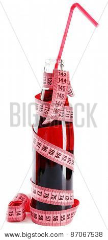 Bottle of dietary cocktail with straw and centimeter isolated on white