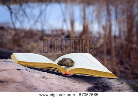 Stone And Book Close To The River