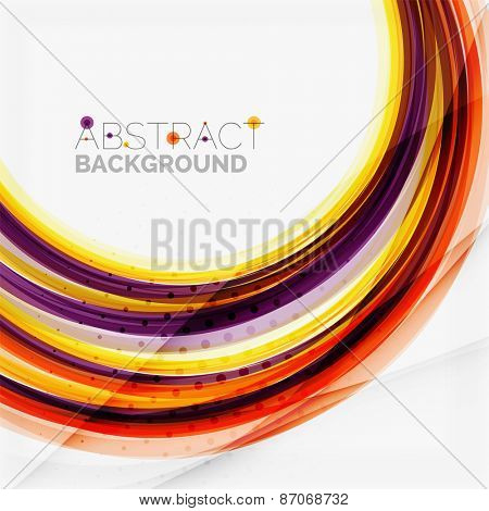 Purple and orange color lines on white, abstract background